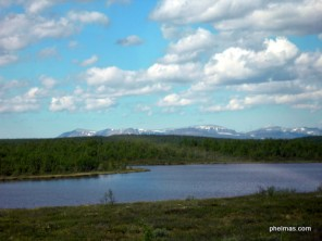 Kurz vor der finnisch-norwegischen Grenze - die Berge gehören schon zu Norwegen!