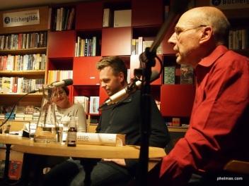"Lesung ""Geister"": Helga Nusser, Nathan Hill und Ulrich Dombrowsky (li. nach re.)"